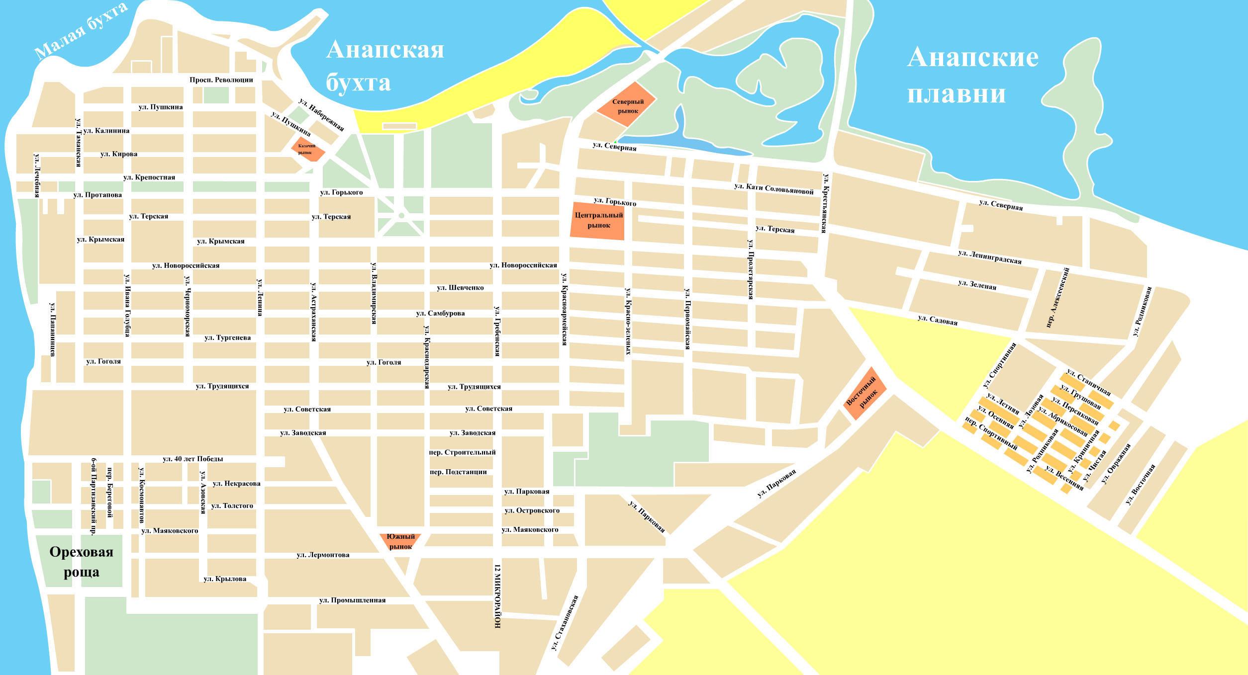 Карта Анапы